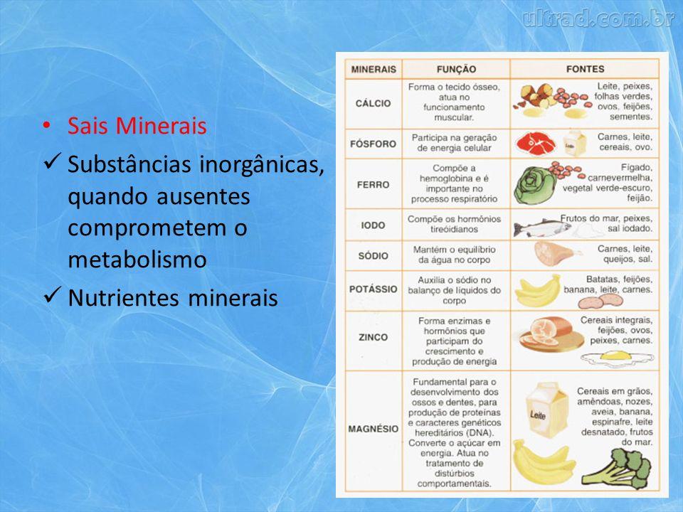 Sais Minerais Substâncias inorgânicas, quando ausentes comprometem o metabolismo Nutrientes minerais
