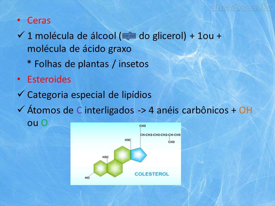 Ceras 1 molécula de álcool ( do glicerol) + 1ou + molécula de ácido graxo * Folhas de plantas / insetos Esteroides Categoria especial de lipídios Átomos de C interligados -> 4 anéis carbônicos + OH ou O