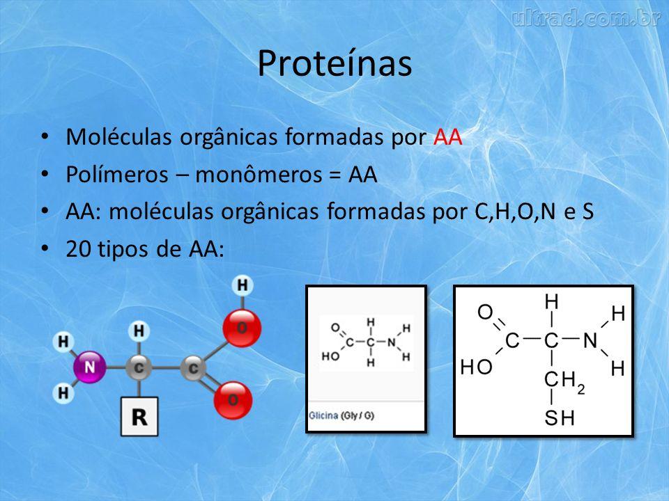 Proteínas Moléculas orgânicas formadas por AA Polímeros – monômeros = AA AA: moléculas orgânicas formadas por C,H,O,N e S 20 tipos de AA: