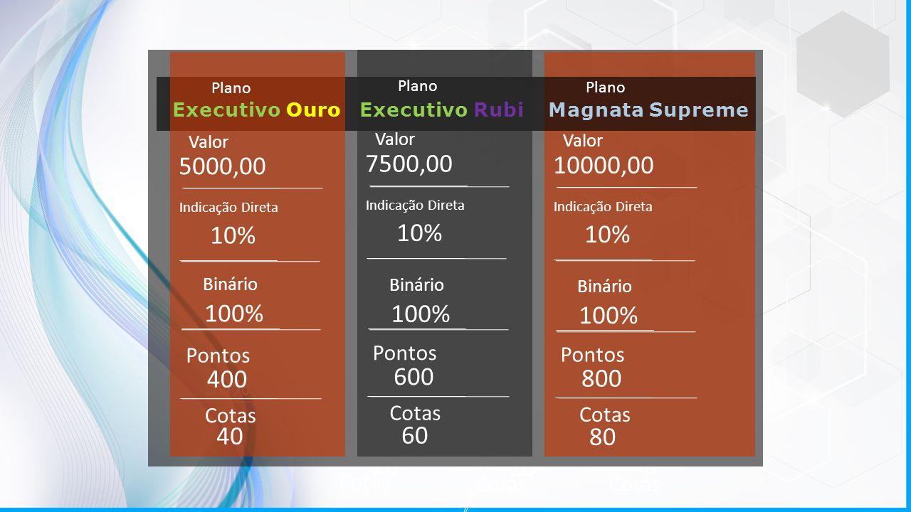 Plano Valor Binário Pontos Cotas Pontos Cotas 10000,00 50% 200 20 0 Indicação Direta Indicação Indireta 160 16 Plano Valor Binário Pontos Cotas 7500,0