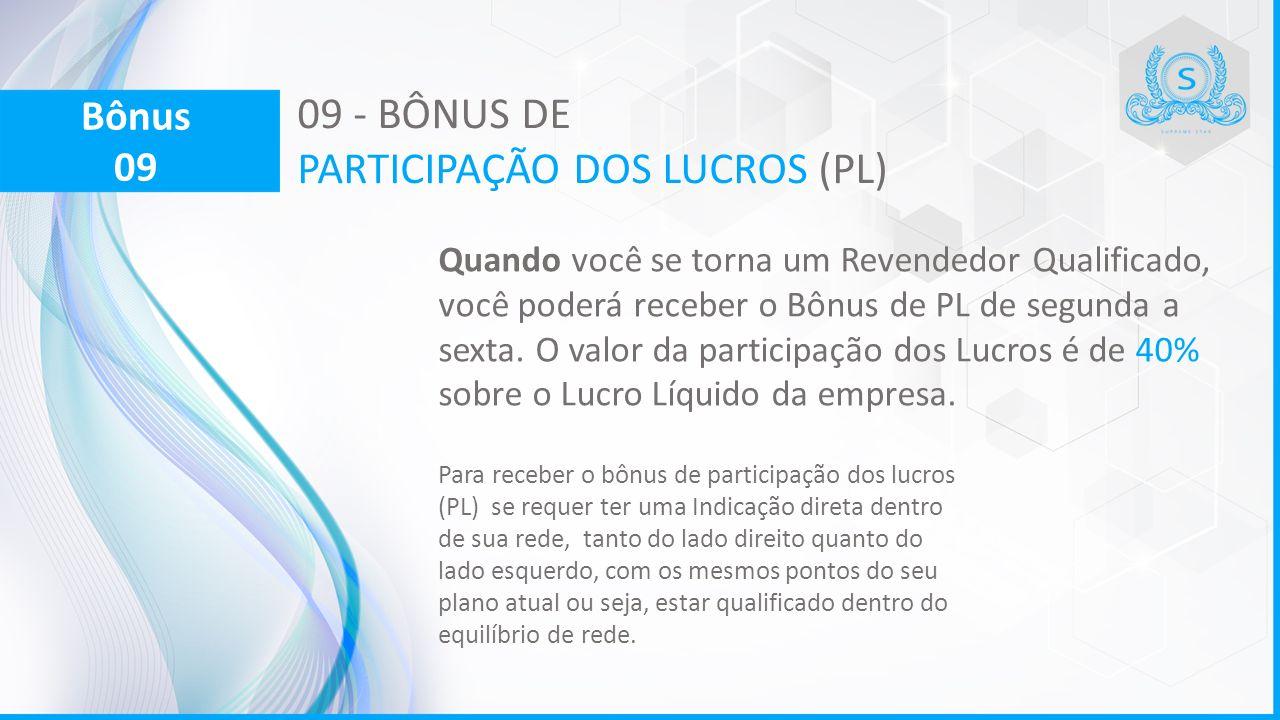 09 - BÔNUS DE PARTICIPAÇÃO DOS LUCROS (PL) Quando você se torna um Revendedor Qualificado, você poderá receber o Bônus de PL de segunda a sexta.