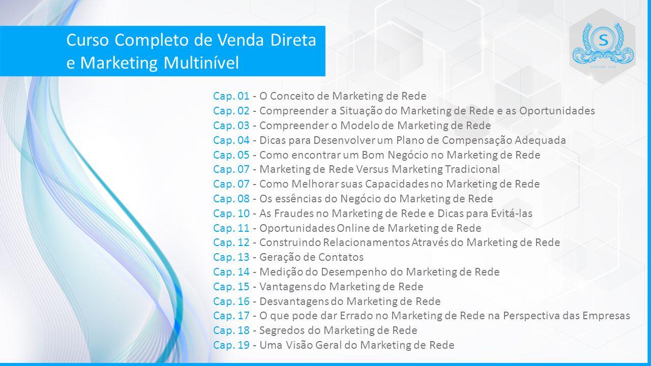 Cap. 01 - O Conceito de Marketing de Rede Cap. 02 - Compreender a Situação do Marketing de Rede e as Oportunidades Cap. 03 - Compreender o Modelo de M