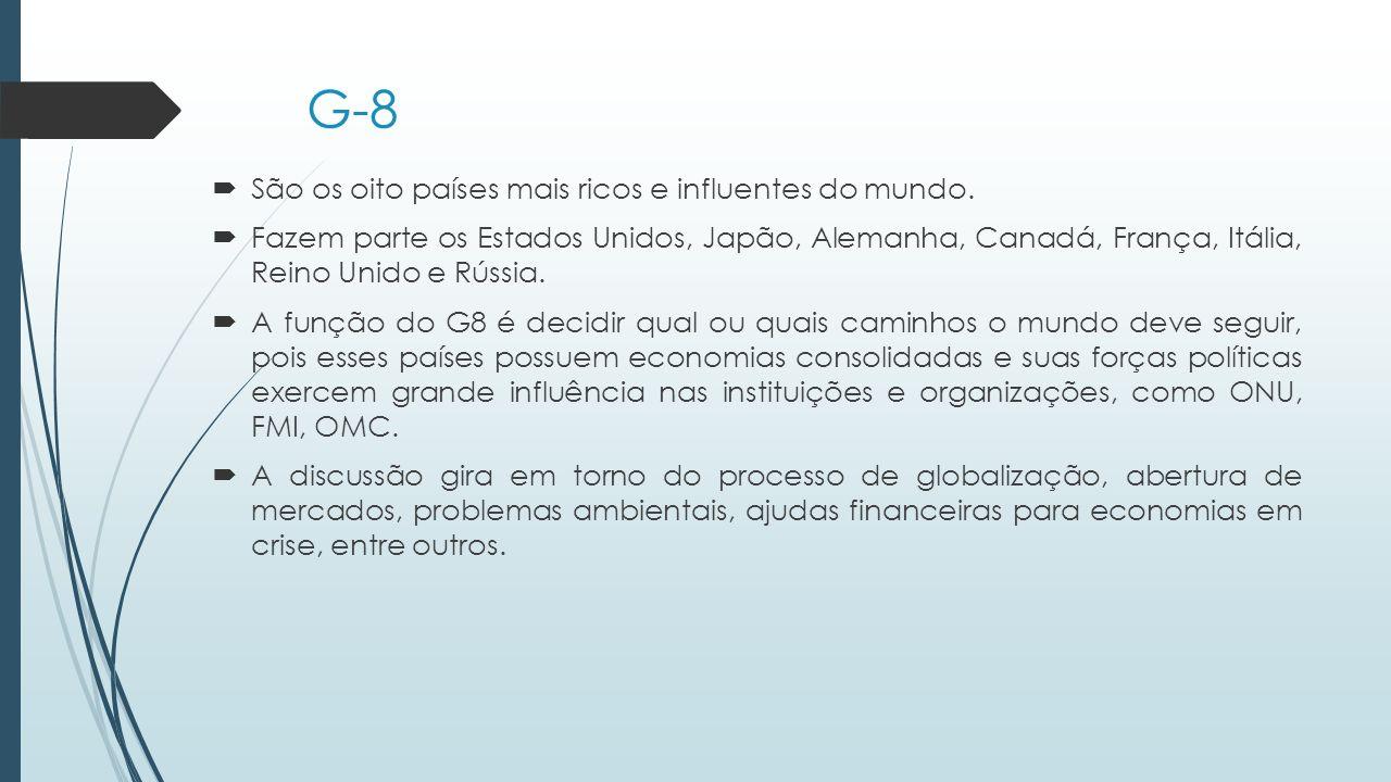 G-8  São os oito países mais ricos e influentes do mundo.