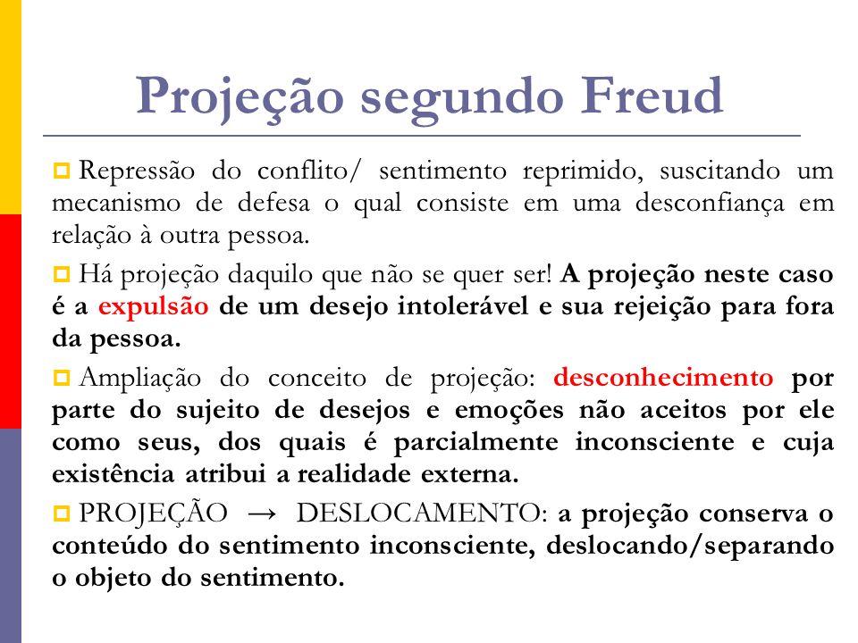 Projeção segundo Freud  Repressão do conflito/ sentimento reprimido, suscitando um mecanismo de defesa o qual consiste em uma desconfiança em relação