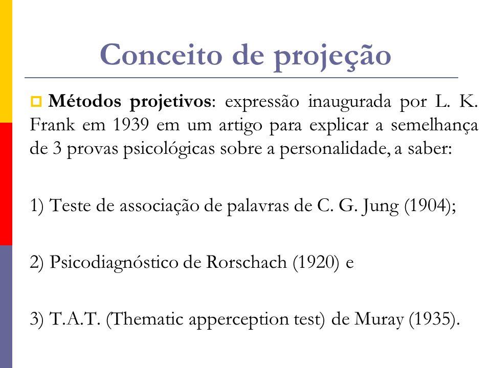 Conceito de projeção  Métodos projetivos: expressão inaugurada por L. K. Frank em 1939 em um artigo para explicar a semelhança de 3 provas psicológic