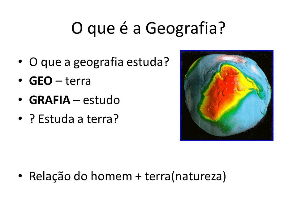O que é a Geografia.O que a geografia estuda. GEO – terra GRAFIA – estudo .