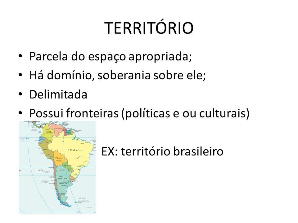 TERRITÓRIO Parcela do espaço apropriada; Há domínio, soberania sobre ele; Delimitada Possui fronteiras (políticas e ou culturais) EX: território brasileiro