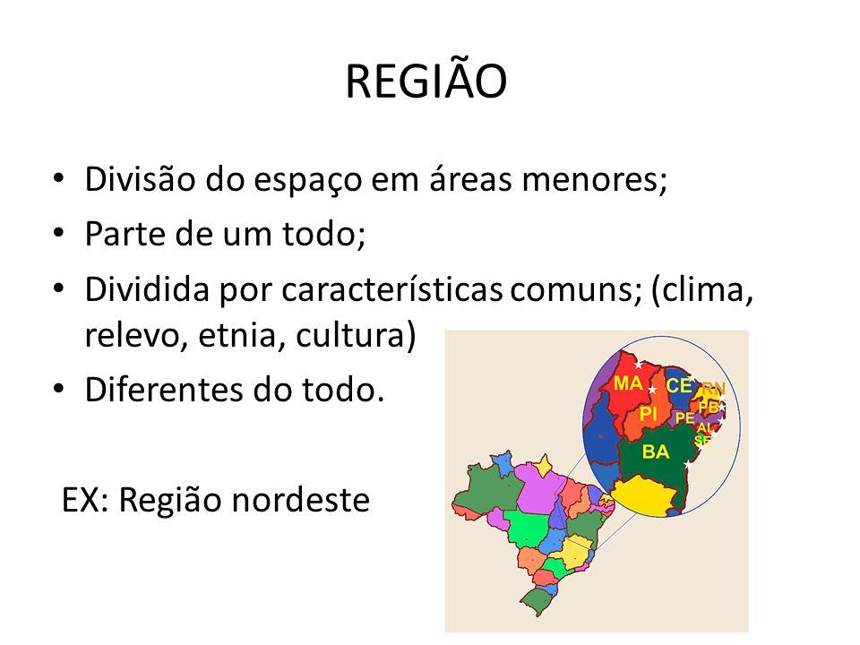 REGIÃO Divisão do espaço em áreas menores; Parte de um todo; Dividida por características comuns; (clima, relevo, etnia, cultura) Diferentes do todo.