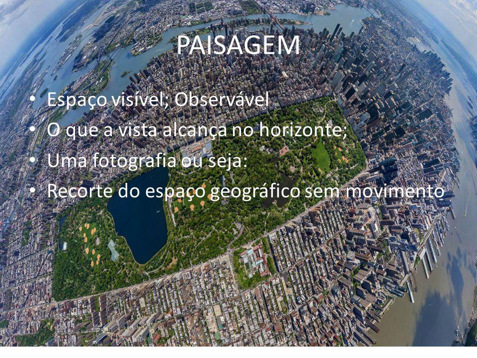 PAISAGEM Espaço visível; Observável O que a vista alcança no horizonte; Uma fotografia ou seja: Recorte do espaço geográfico sem movimento