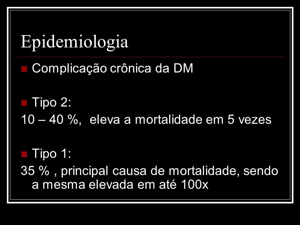Nos EUA, 40% dos pacientes em programa de substituição renal são portadores de DM; Na grande São Paulo, pacientes diabéticos representam quase 11% dos pacientes em programa de diálise; No rio grande do sul, em estudo recente, 26% dos pacientes em hemodiálise eram portadores de ND.