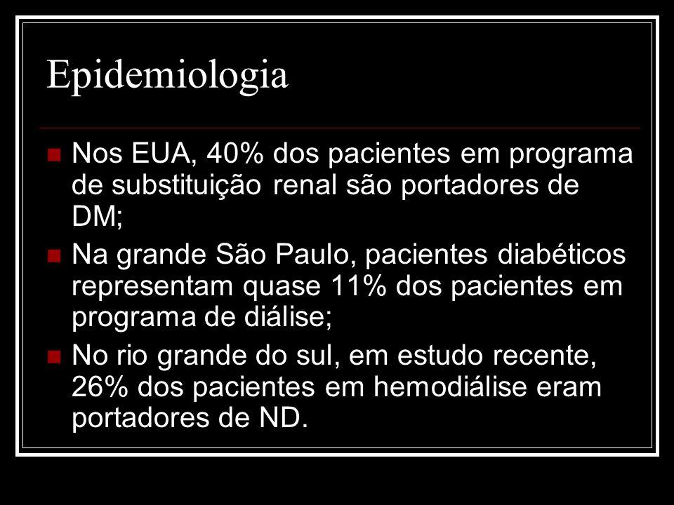 Estágios e curso clínico da ND Nefropatia incipiente; Nefropatia clínica; Insuficiência Renal terminal (uremia e diálise).