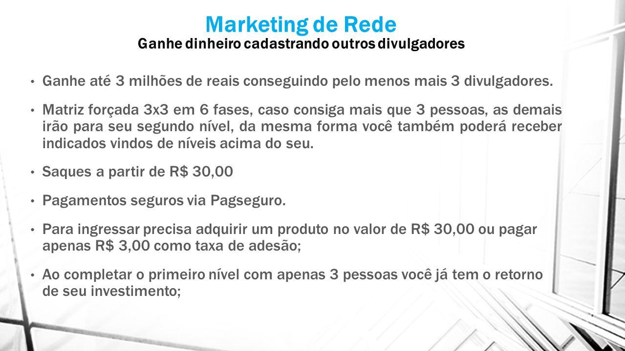 Marketing de Rede Ganhe dinheiro cadastrando outros divulgadores Ganhe até 3 milhões de reais conseguindo pelo menos mais 3 divulgadores.