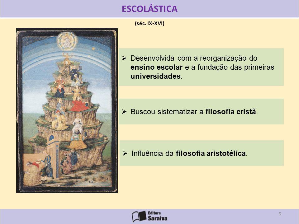 (séc.IX-XVI) ESCOLÁSTICA  Buscou sistematizar a filosofia cristã.