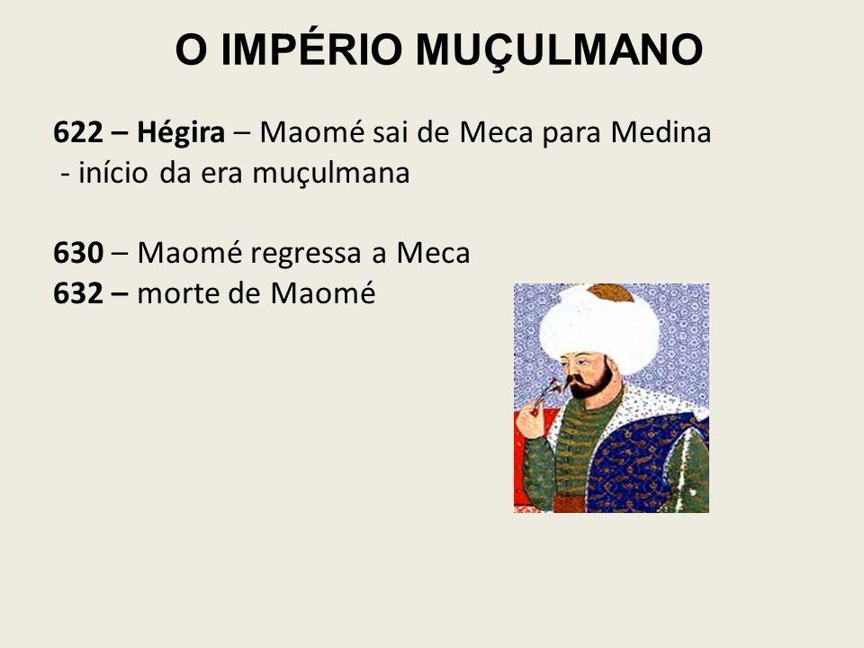 O IMPÉRIO MUÇULMANO 622 – Hégira – Maomé sai de Meca para Medina - início da era muçulmana 630 – Maomé regressa a Meca 632 – morte de Maomé