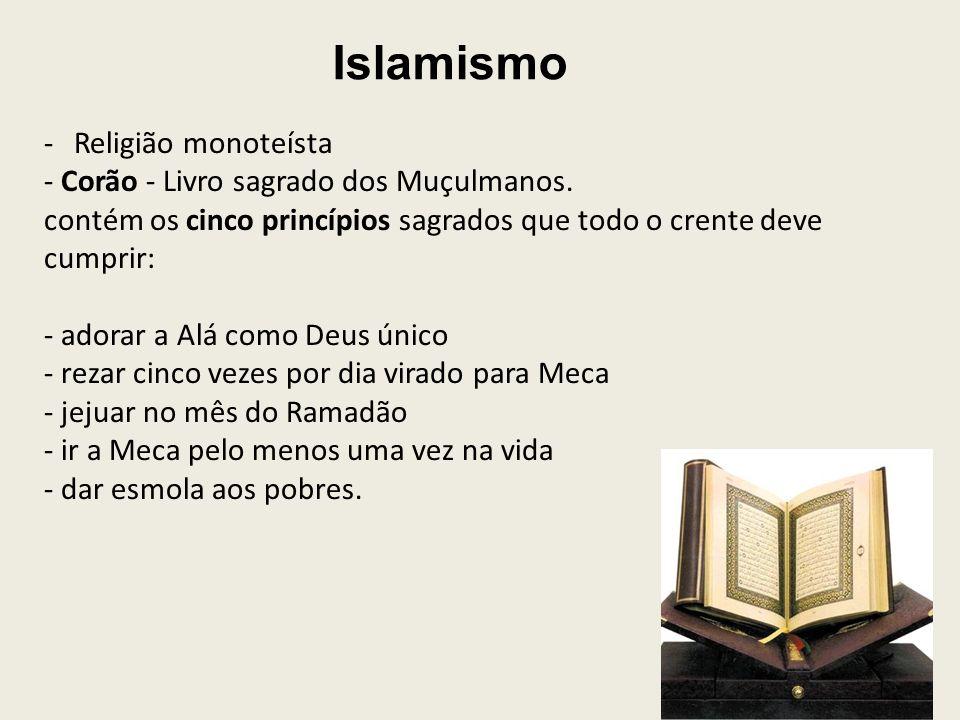 Islamismo -Religião monoteísta - Corão - Livro sagrado dos Muçulmanos.