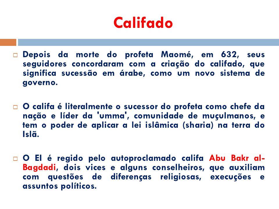 Califado  Depois da morte do profeta Maomé, em 632, seus seguidores concordaram com a criação do califado, que significa sucessão em árabe, como um novo sistema de governo.