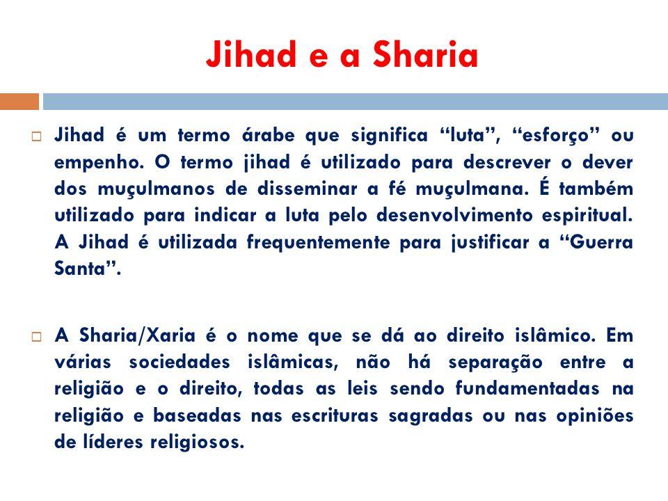 Jihad e a Sharia  Jihad é um termo árabe que significa luta , esforço ou empenho.
