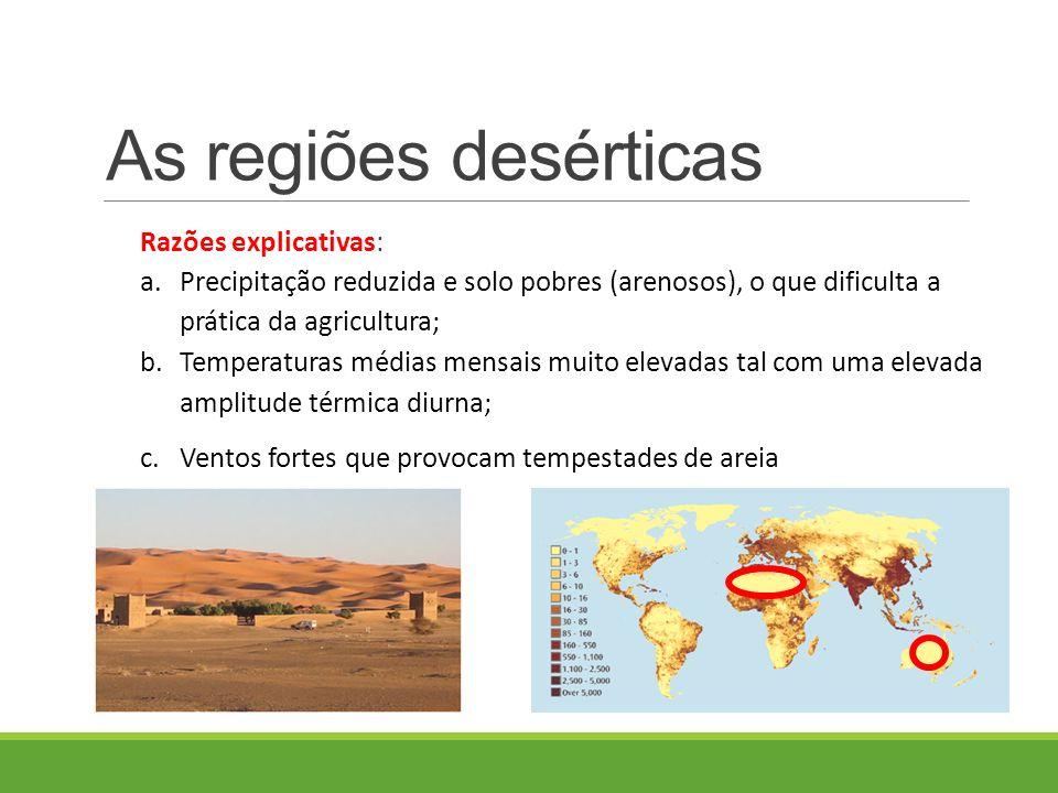 Razões explicativas: a.Precipitação reduzida e solo pobres (arenosos), o que dificulta a prática da agricultura; b.Temperaturas médias mensais muito elevadas tal com uma elevada amplitude térmica diurna; c.Ventos fortes que provocam tempestades de areia