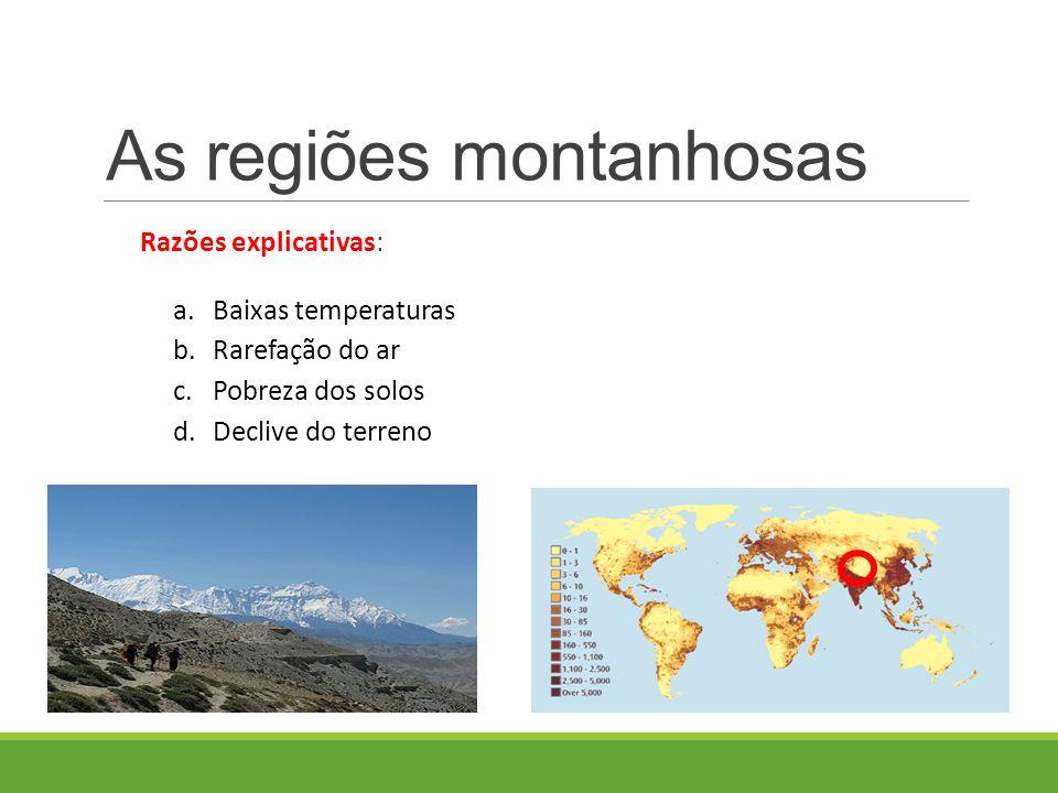 Razões explicativas: a.Baixas temperaturas b.Rarefação do ar c.Pobreza dos solos d.Declive do terreno