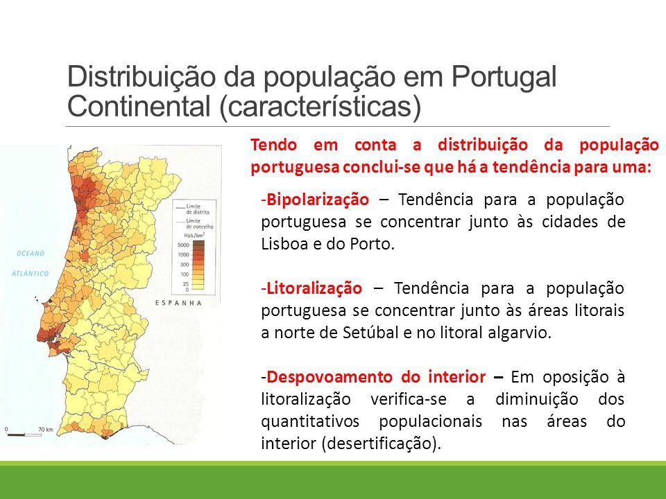 Distribuição da população em Portugal Continental (características) Tendo em conta a distribuição da população portuguesa conclui-se que há a tendência para uma: -Bipolarização – Tendência para a população portuguesa se concentrar junto às cidades de Lisboa e do Porto.