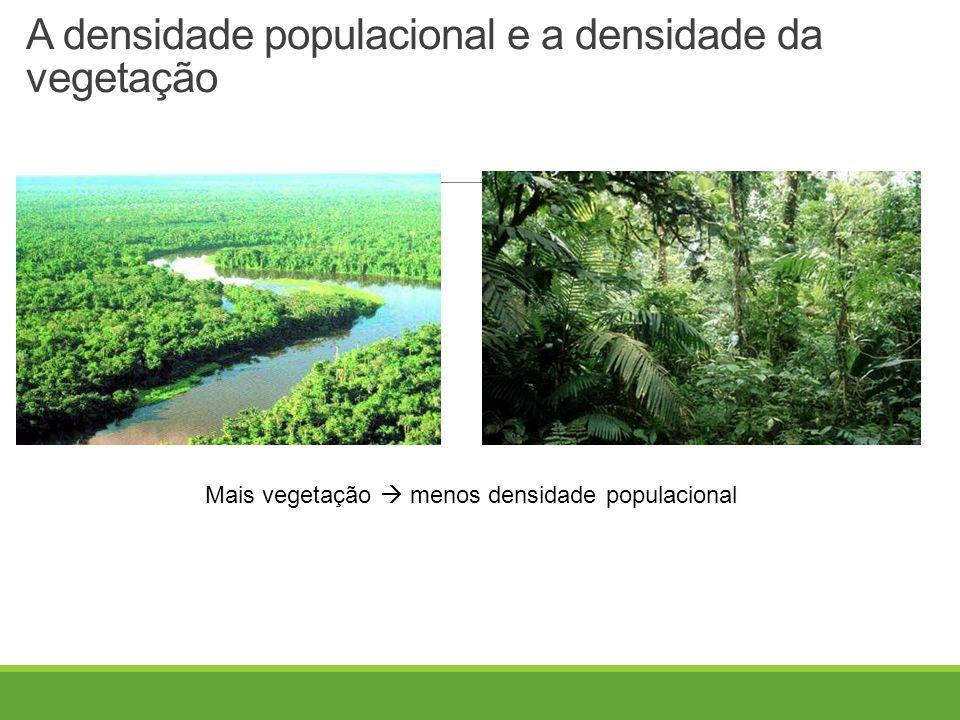 A densidade populacional e a densidade da vegetação Mais vegetação  menos densidade populacional