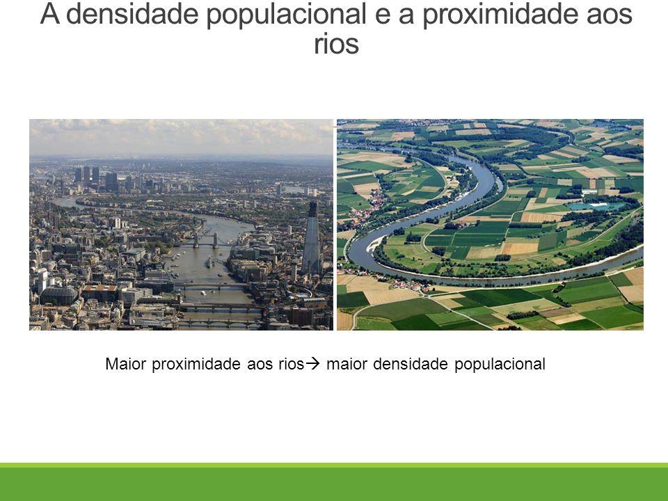 A densidade populacional e a proximidade aos rios Maior proximidade aos rios  maior densidade populacional
