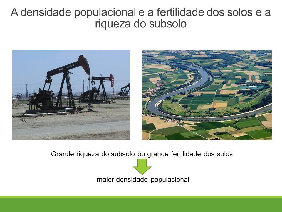 A densidade populacional e a fertilidade dos solos e a riqueza do subsolo Grande riqueza do subsolo ou grande fertilidade dos solos maior densidade populacional