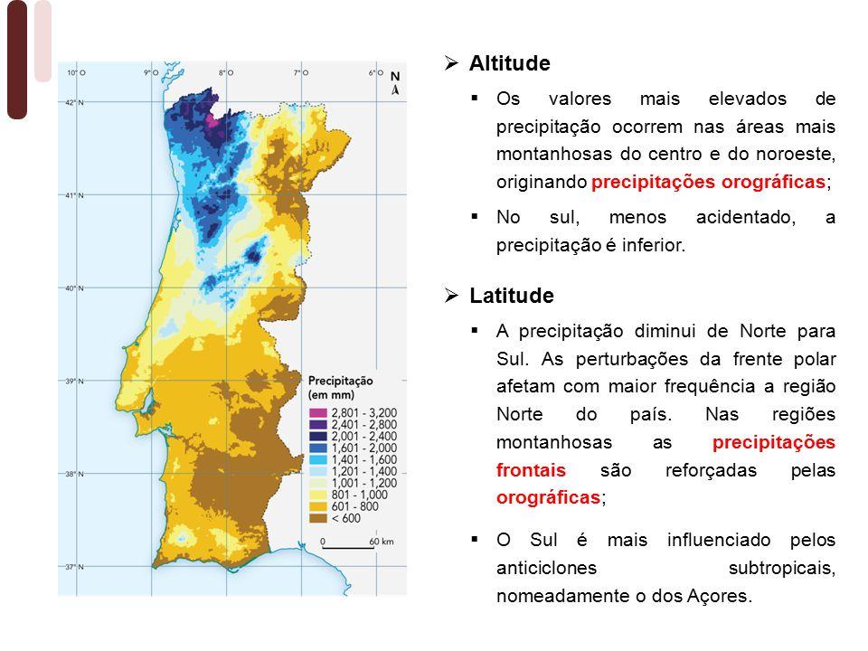  Os valores mais elevados de precipitação ocorrem nas áreas mais montanhosas do centro e do noroeste, originando precipitações orográficas;  No sul, menos acidentado, a precipitação é inferior.