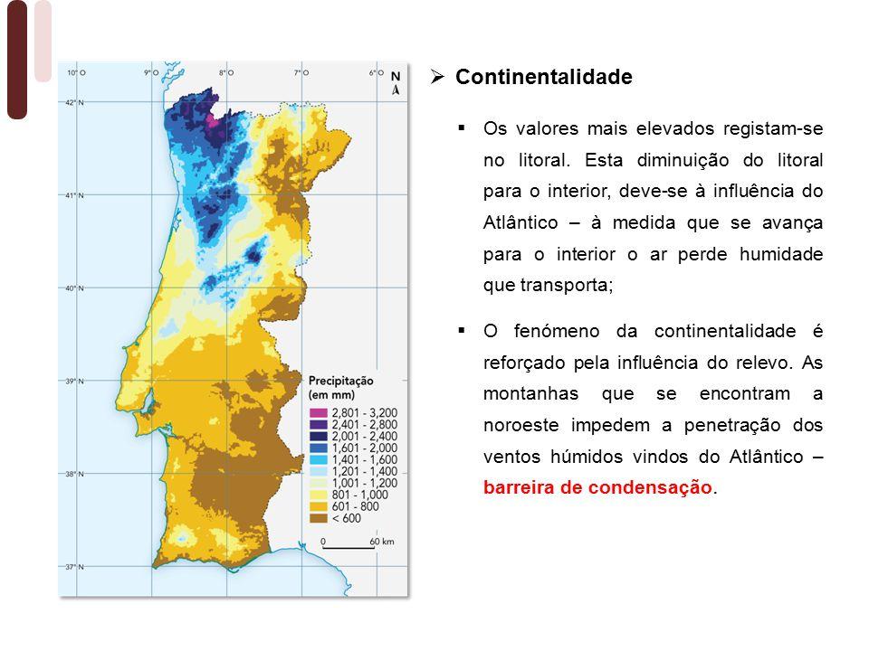  Os valores mais elevados registam-se no litoral.
