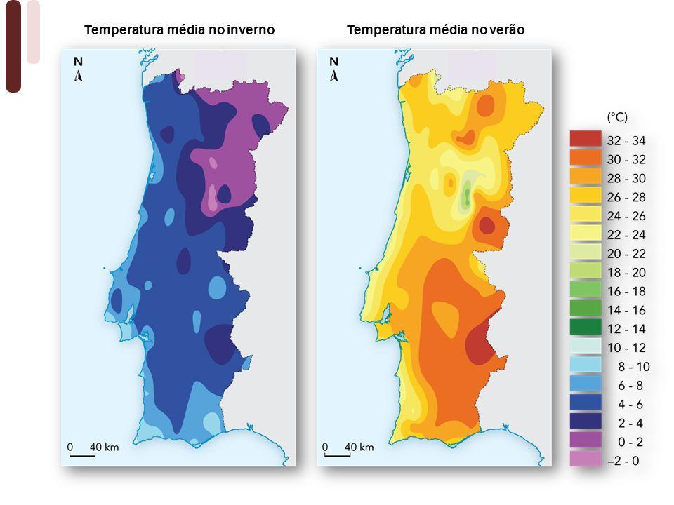 Temperatura média no verãoTemperatura média no inverno