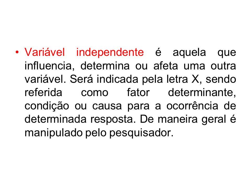 Variável independente é aquela que influencia, determina ou afeta uma outra variável.
