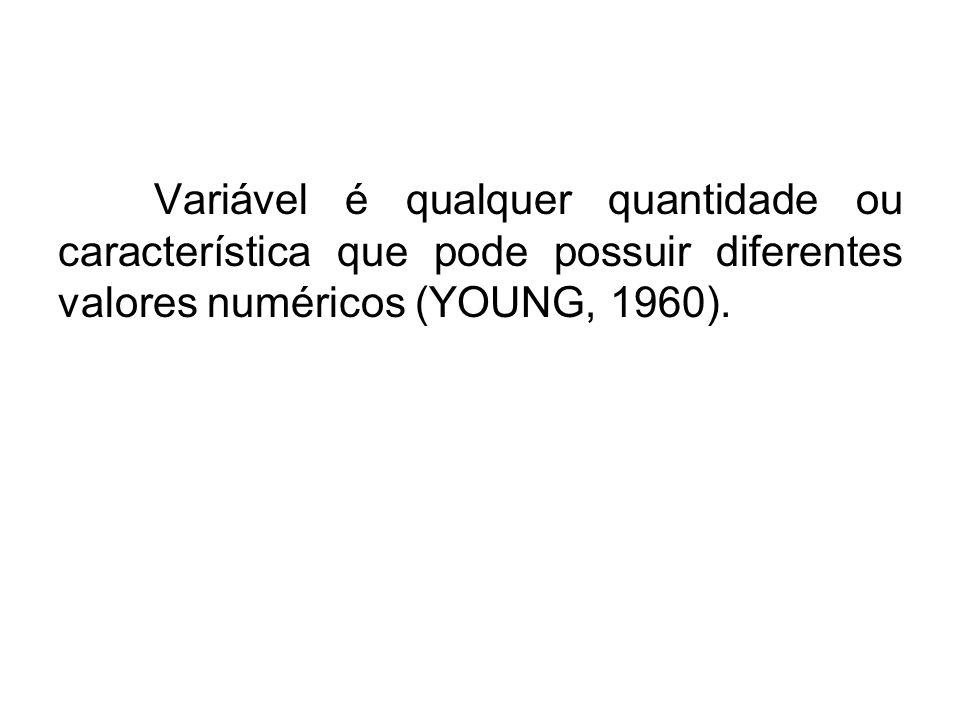 Variável é qualquer quantidade ou característica que pode possuir diferentes valores numéricos (YOUNG, 1960).