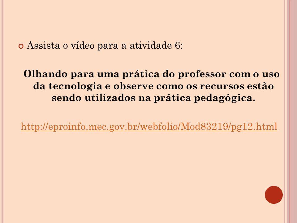 Assista o vídeo para a atividade 6: Olhando para uma prática do professor com o uso da tecnologia e observe como os recursos estão sendo utilizados na prática pedagógica.
