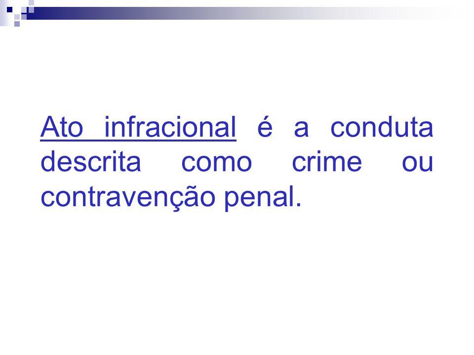 Ato infracional é a conduta descrita como crime ou contravenção penal.