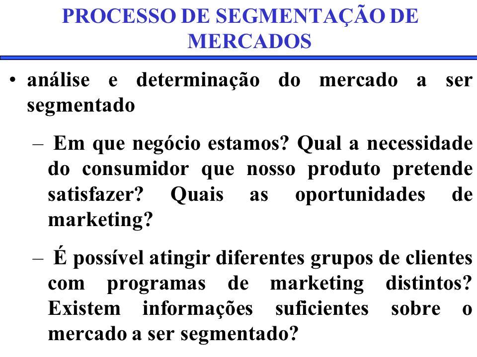 PROCESSO DE SEGMENTAÇÃO DE MERCADOS análise e determinação do mercado a ser segmentado – Em que negócio estamos.