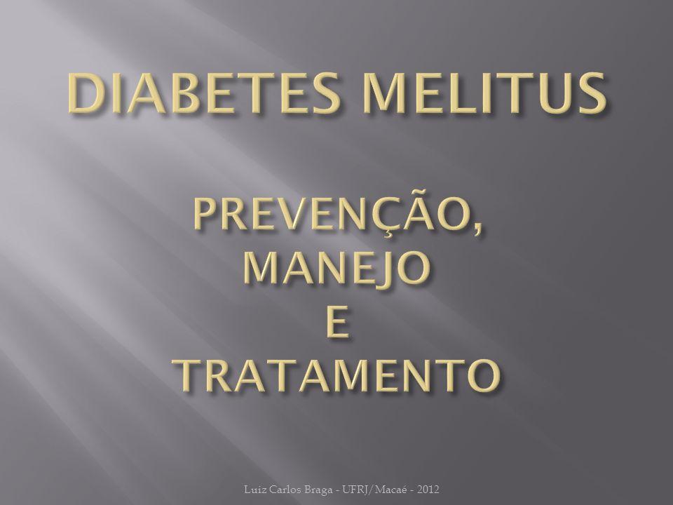 PARÂMETROMETAPERIODICIDADE Plano AlimentarAlimentação Saudável 18,5 < IMC < 25Kg/m Verificar e orientar a cada consulta Atividade Física≥ 30 min/dia FumoNÃO FUMAR Hemoglobina Glicada< 7%A cada 3 meses até alcançar o controle e após, a cada 6 meses Glicemia de Jejum90-130 mg/dL LDL-c< 100mg/dL Anual HDL-c> 40mg/dL Triglicerídeos< 150mg/dL Pressão Arterial< 130/80 mmHgA cada consulta ImunizaçãoInfluenzaAnual Luiz Carlos Braga - UFRJ/Macaé - 2012