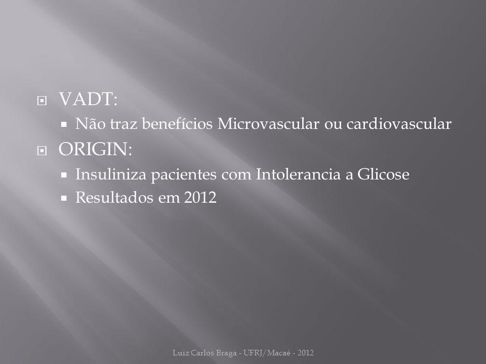  VADT:  Não traz benefícios Microvascular ou cardiovascular  ORIGIN:  Insuliniza pacientes com Intolerancia a Glicose  Resultados em 2012 Luiz Carlos Braga - UFRJ/Macaé - 2012
