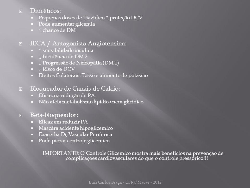  Diuréticos:  Pequenas doses de Tiazídico ↑ proteção DCV  Pode aumentar glicemia  ↑ chance de DM  IECA / Antagonista Angiotensina:  ↑ sensibilidade insulina  ↓ Incidência de DM 2  ↓ Progressão de Nefropatia (DM 1)  ↓ Risco de DCV  Efeitos Colaterais: Tosse e aumento de potássio  Bloqueador de Canais de Calcio:  Eficaz na redução de PA  Não afeta metabolismo lipídico nem glicídico  Beta-bloqueador:  Eficaz em reduzir PA  Mascára acidente hipoglicemico  Exacerba Dç Vascular Periférica  Pode piorar controle glicemico IMPORTANTE: O Controle Glicemico mostra mais benefícios na prevenção de complicações cardiovasculares do que o controle pressórico!!.
