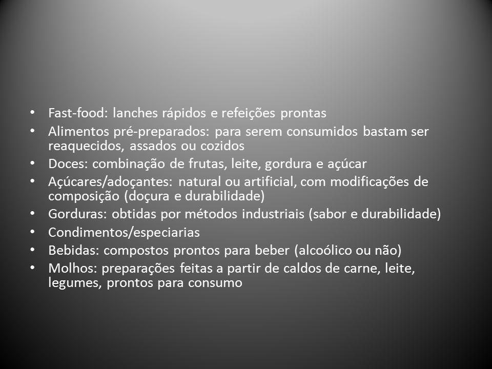 Fast-food: lanches rápidos e refeições prontas Alimentos pré-preparados: para serem consumidos bastam ser reaquecidos, assados ou cozidos Doces: combinação de frutas, leite, gordura e açúcar Açúcares/adoçantes: natural ou artificial, com modificações de composição (doçura e durabilidade) Gorduras: obtidas por métodos industriais (sabor e durabilidade) Condimentos/especiarias Bebidas: compostos prontos para beber (alcoólico ou não) Molhos: preparações feitas a partir de caldos de carne, leite, legumes, prontos para consumo