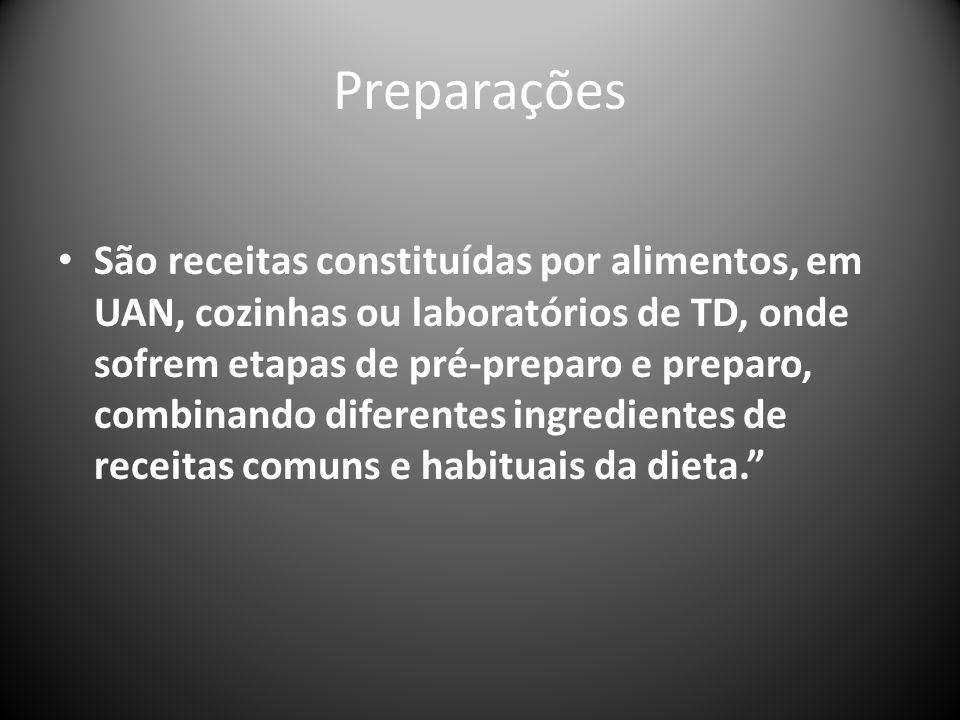 Preparações São receitas constituídas por alimentos, em UAN, cozinhas ou laboratórios de TD, onde sofrem etapas de pré-preparo e preparo, combinando diferentes ingredientes de receitas comuns e habituais da dieta.