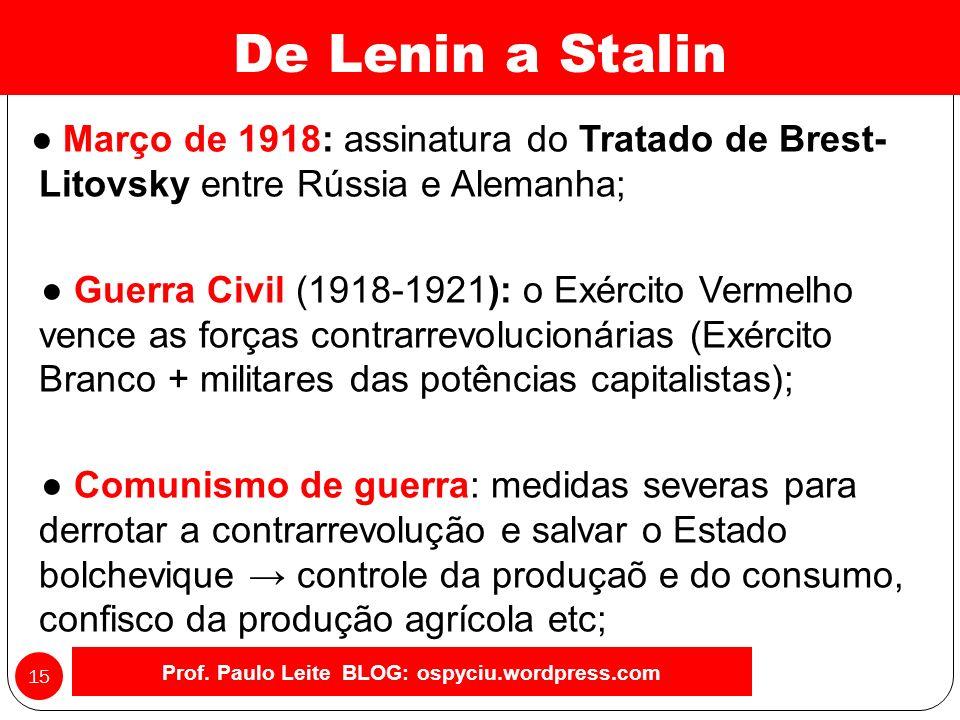 A fase bolchevique da Revolução (principais medidas): Prof.