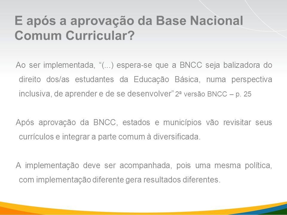 Ao ser implementada, (...) espera-se que a BNCC seja balizadora do direito dos/as estudantes da Educação Básica, numa perspectiva inclusiva, de aprender e de se desenvolver 2ª versão BNCC – p.