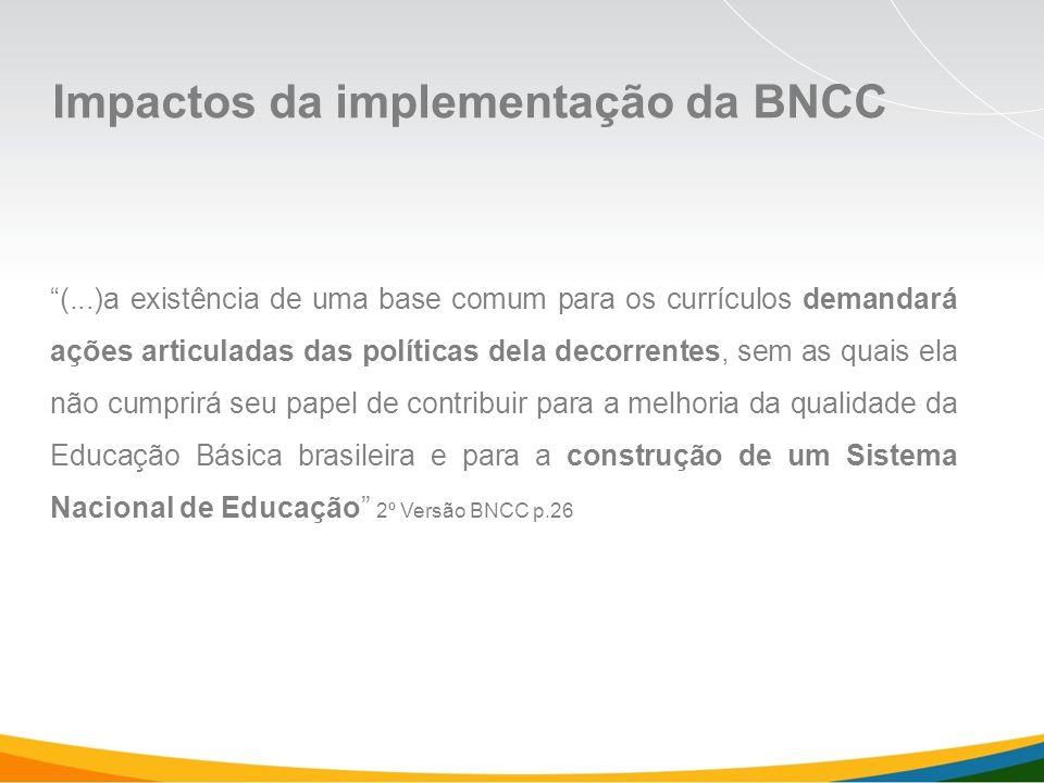 Impactos da implementação da BNCC (...)a existência de uma base comum para os currículos demandará ações articuladas das políticas dela decorrentes, sem as quais ela não cumprirá seu papel de contribuir para a melhoria da qualidade da Educação Básica brasileira e para a construção de um Sistema Nacional de Educação 2º Versão BNCC p.26