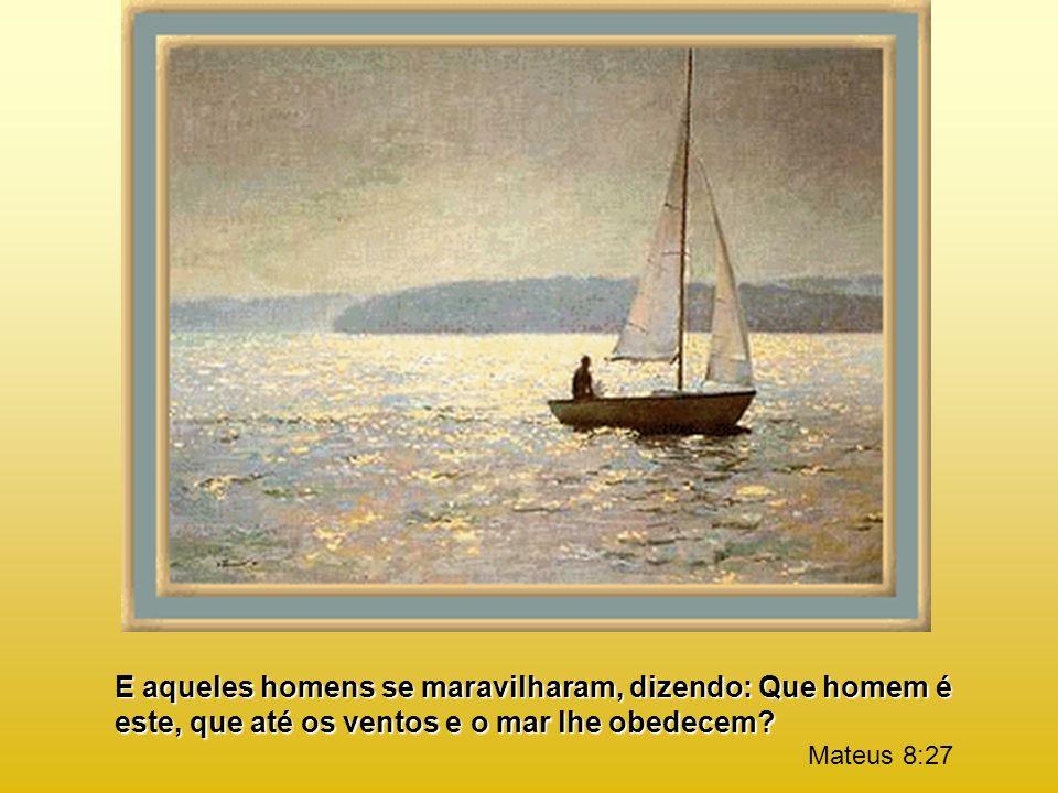 E aqueles homens se maravilharam, dizendo: Que homem é este, que até os ventos e o mar lhe obedecem.