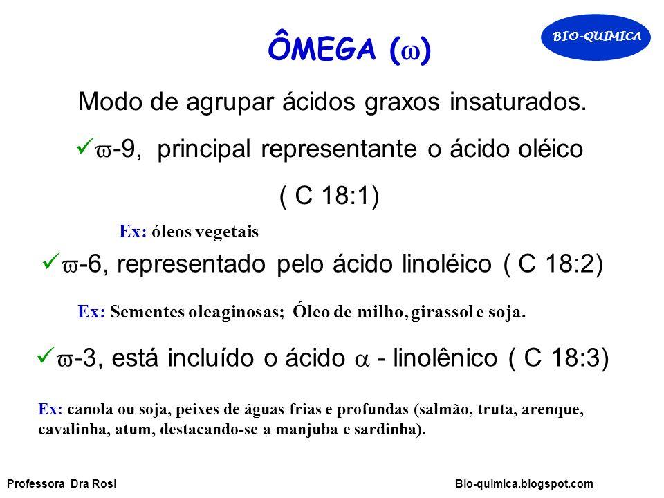 ÔMEGA (  ) Modo de agrupar ácidos graxos insaturados.