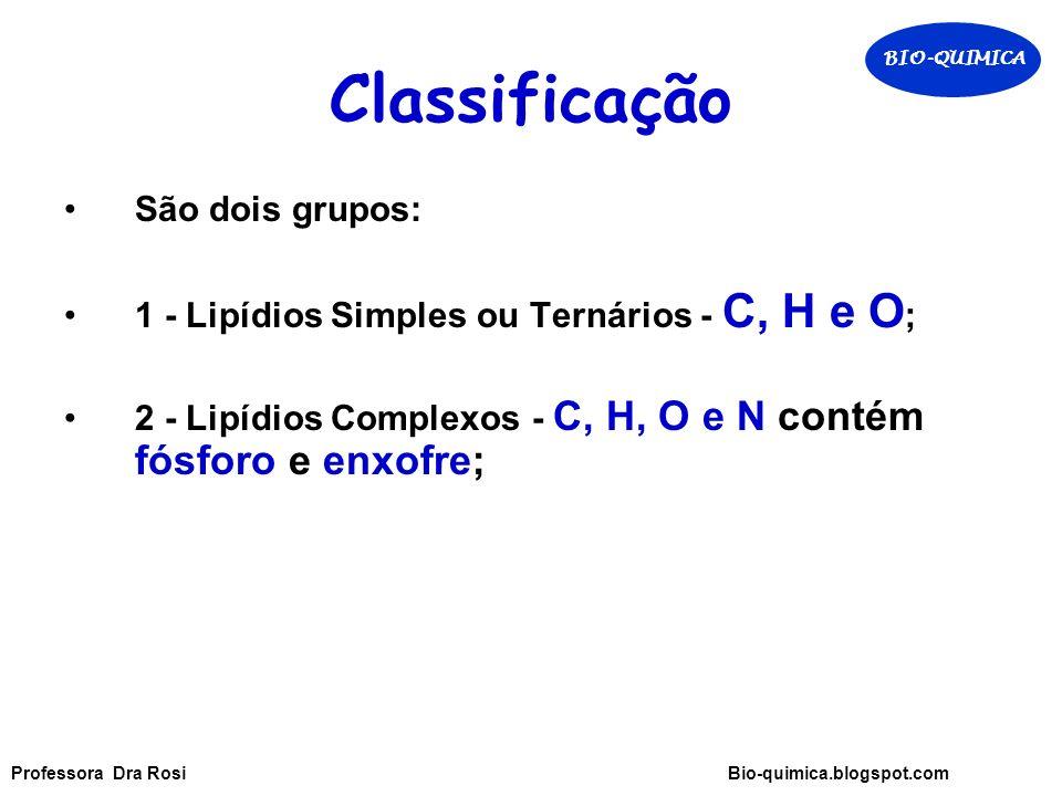 Classificação São dois grupos: 1 - Lipídios Simples ou Ternários - C, H e O ; 2 - Lipídios Complexos - C, H, O e N contém fósforo e enxofre; BIO-QUIMICA Professora Dra Rosi Bio-quimica.blogspot.com