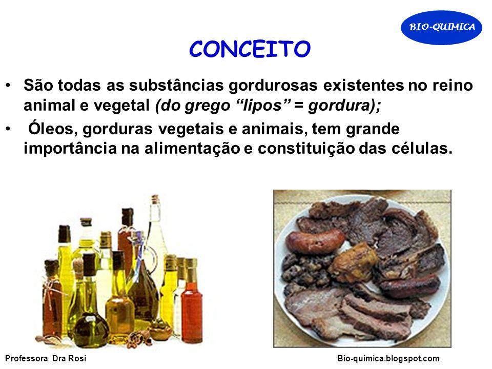 CONCEITO São todas as substâncias gordurosas existentes no reino animal e vegetal (do grego lipos = gordura); Óleos, gorduras vegetais e animais, tem grande importância na alimentação e constituição das células.