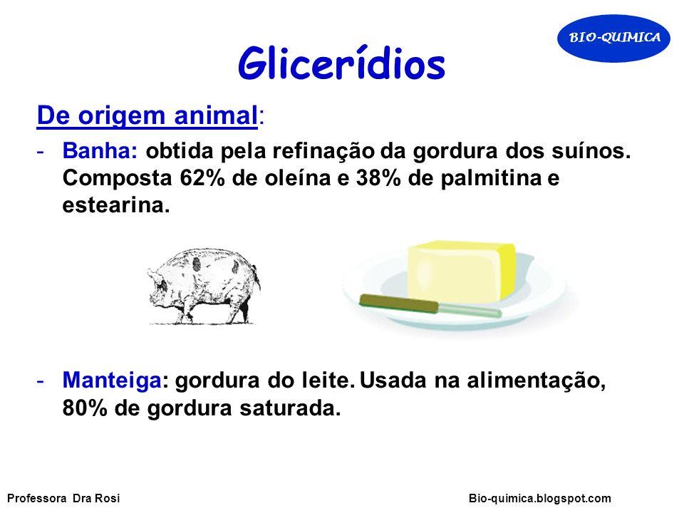 Glicerídios De origem animal: -Banha: obtida pela refinação da gordura dos suínos.