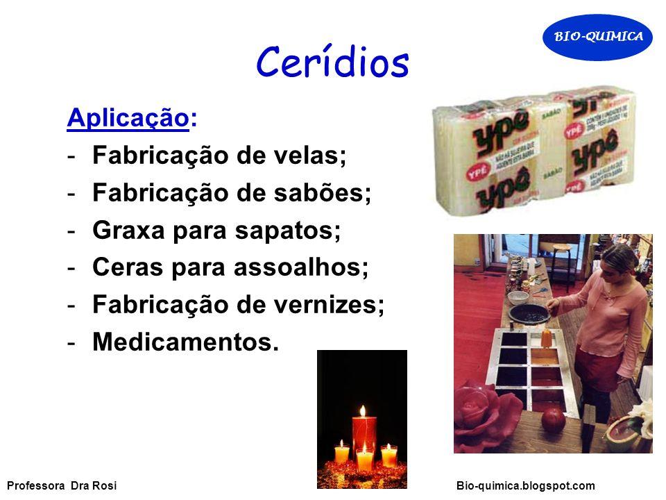 Cerídios Aplicação: -Fabricação de velas; -Fabricação de sabões; -Graxa para sapatos; -Ceras para assoalhos; -Fabricação de vernizes; -Medicamentos.
