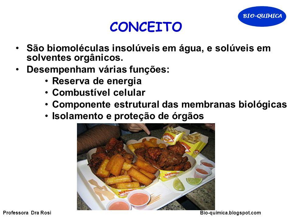 CONCEITO São biomoléculas insolúveis em água, e solúveis em solventes orgânicos.